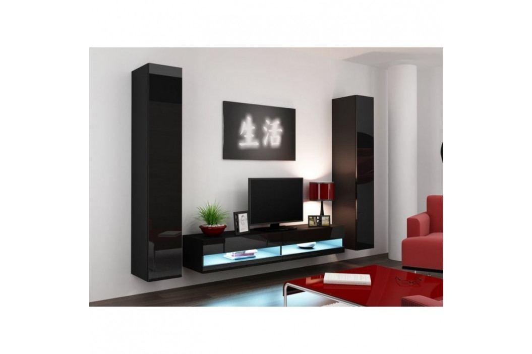 dodání 30 dní - Stylová obývací stěna VIGO NEW 4 Černý / Černý lesk obrázek inspirace
