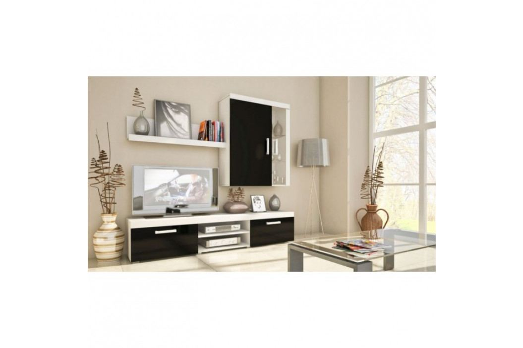 dodání 30 dní - Elegantní obývací stěna SAMBA MINI 9 bílý/černý lesk