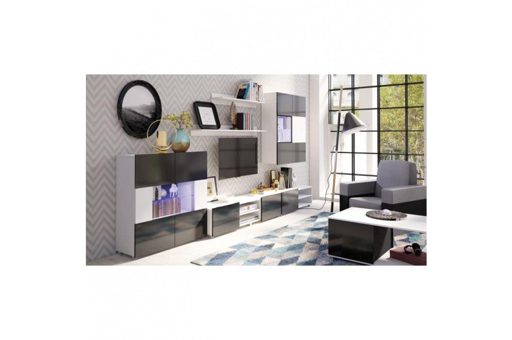 dodání 30 dní - Moderní obývací stěna GORDIA sestava 8 bílý+černý obrázek inspirace