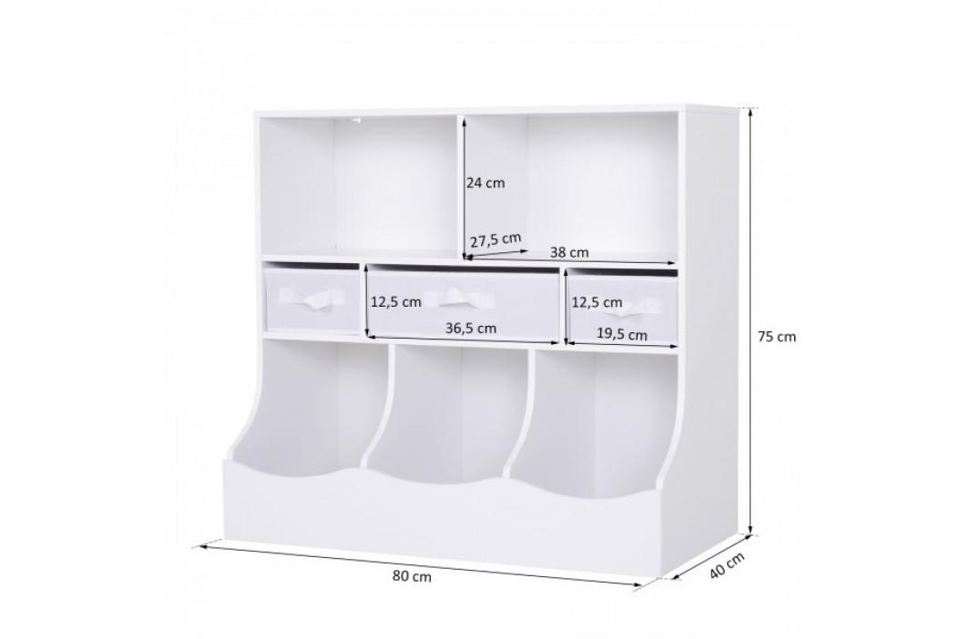 Goleto Dětská skladovací skříňka s přihrádkami   bílá
