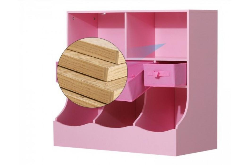 Goleto Dětská skladovací skříňka s přihrádkami   růžová