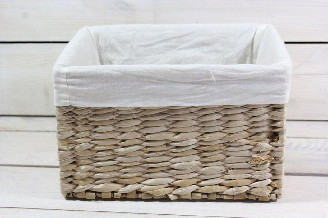 Proutěný košík s bílou látkou (23x13,5x18 cm) 2. - hnědý