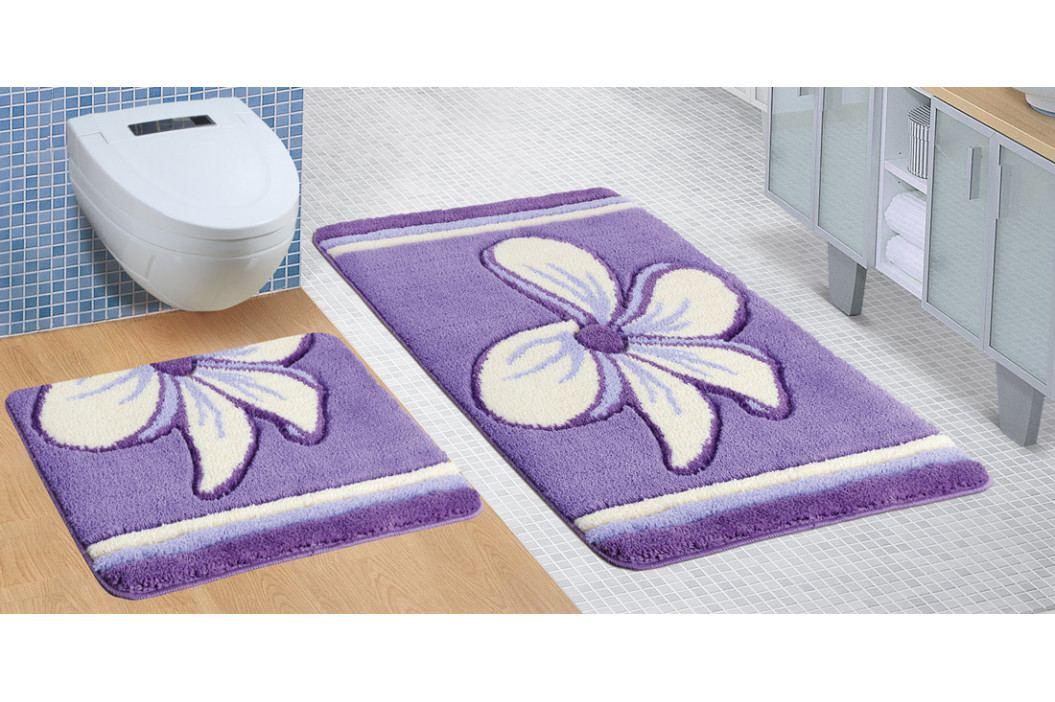 Bellatex koupelnová předložka ULTRA sada fialový květ 60x100 + 60x50 cm bez výkroje WC