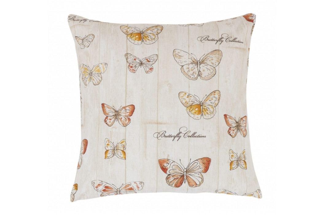 Bellatex polštářek Ema 45x45 cm motýlci na dřevě