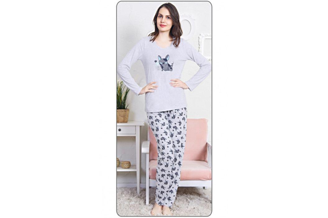 Dámské pyžamo dlouhé Lovely day Velikost S, Barva světle šedá