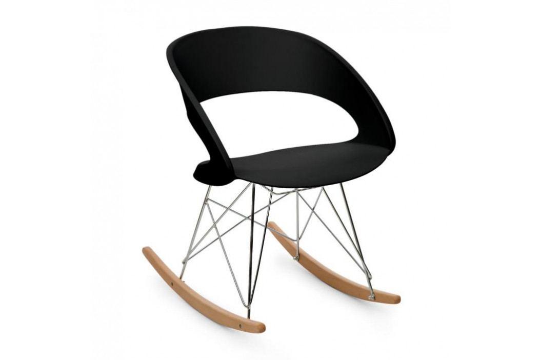OneConcept Travolta houpací židle, retro, PP-konstrukce sedáku, březové dřevo, černá barva