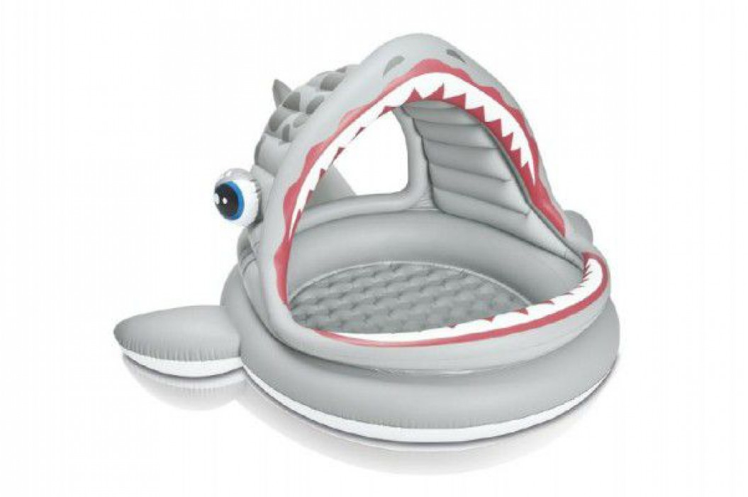 Teddies 58379 Bazén dětský žralok se stříškou nafukovací 201x198x109cm 2+