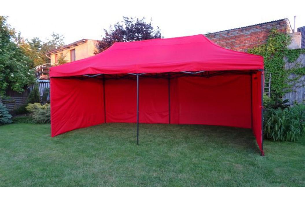 Tradgard DELUXE 41518 Zahradní párty stan  nůžkový + boční stěny - 3 x 6 m červená