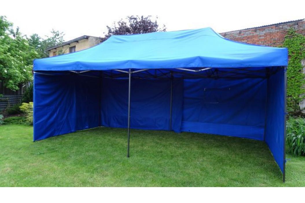 Zahradní párty stan DELUXE nůžkový + boční stěna - 3 x 6 m modrá 41514