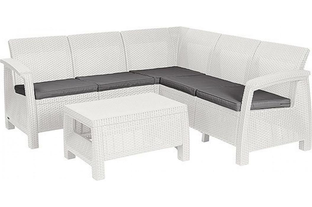 Allibert 41478 Zahradní set CORFU RELAX bílá + šedé podušky