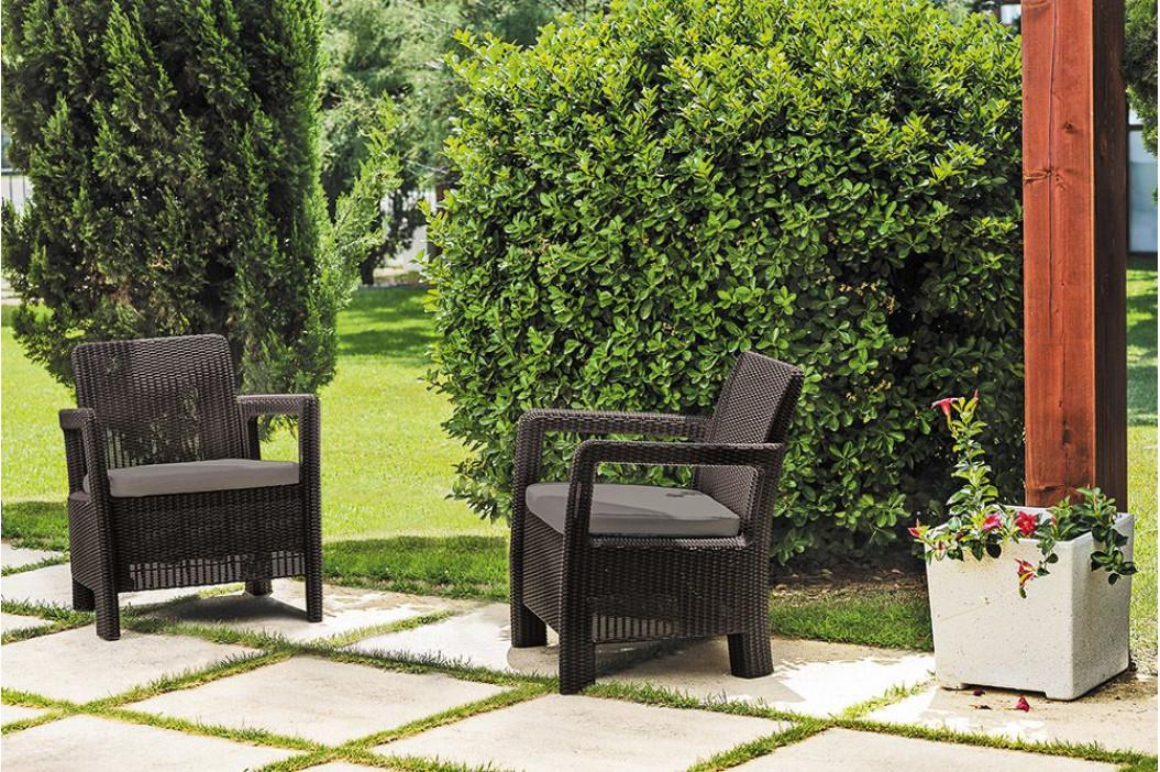CURVER 41414 Zahradní set křesel TARIFA hnědé + šedohnědé podušky