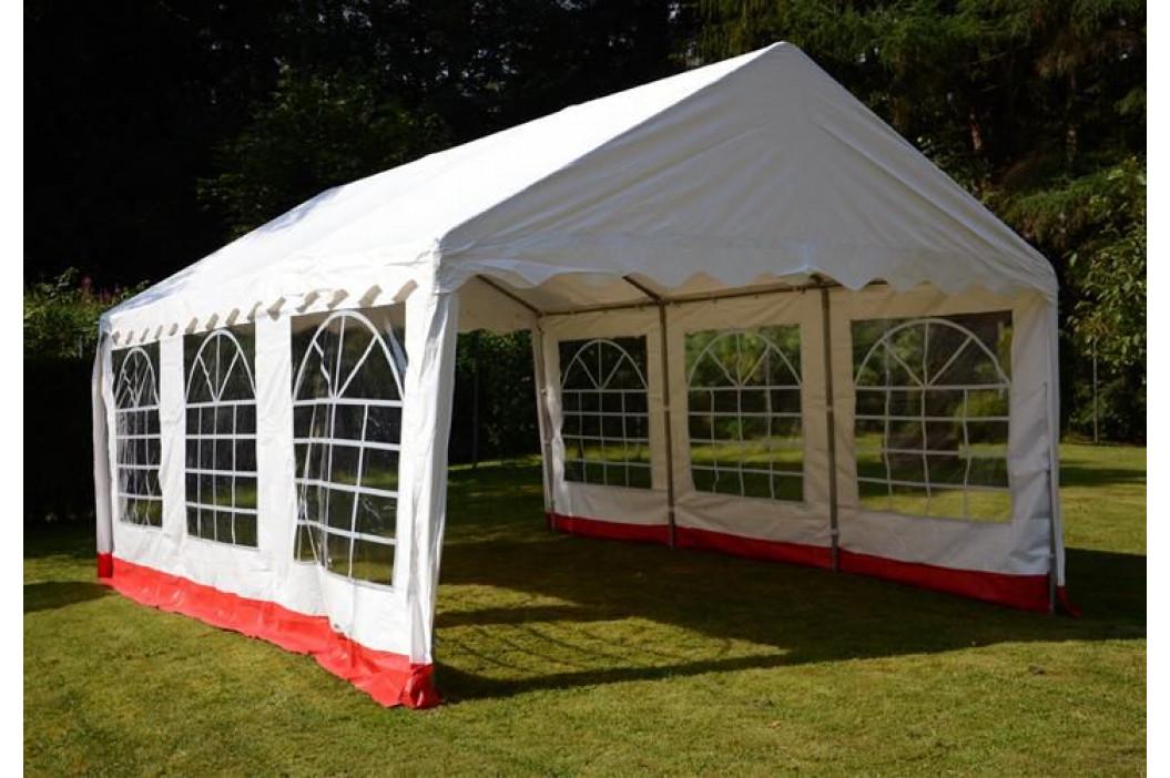 Garthen 412 Zahradní stan - bílá / červená, 4 x 6 m