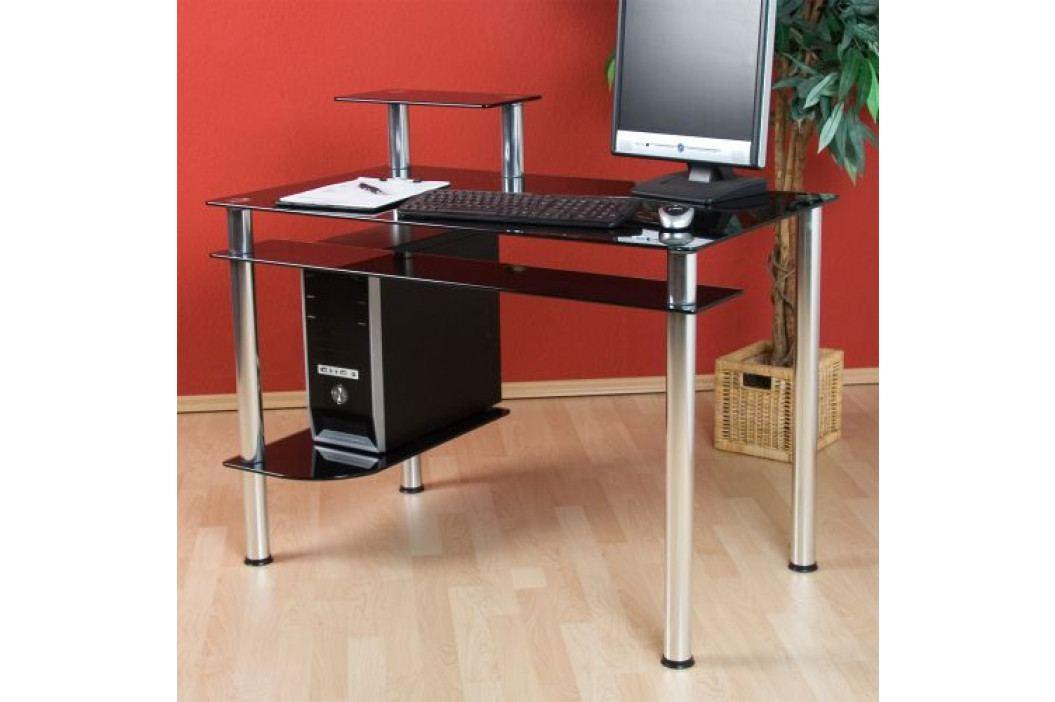 Skleněný kancelářský stůl na počítač KLASIK černý
