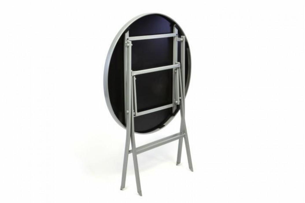 Garthen 35060 Zahradní bistro stolek skleněný se sklopnou deskou - stříbrný