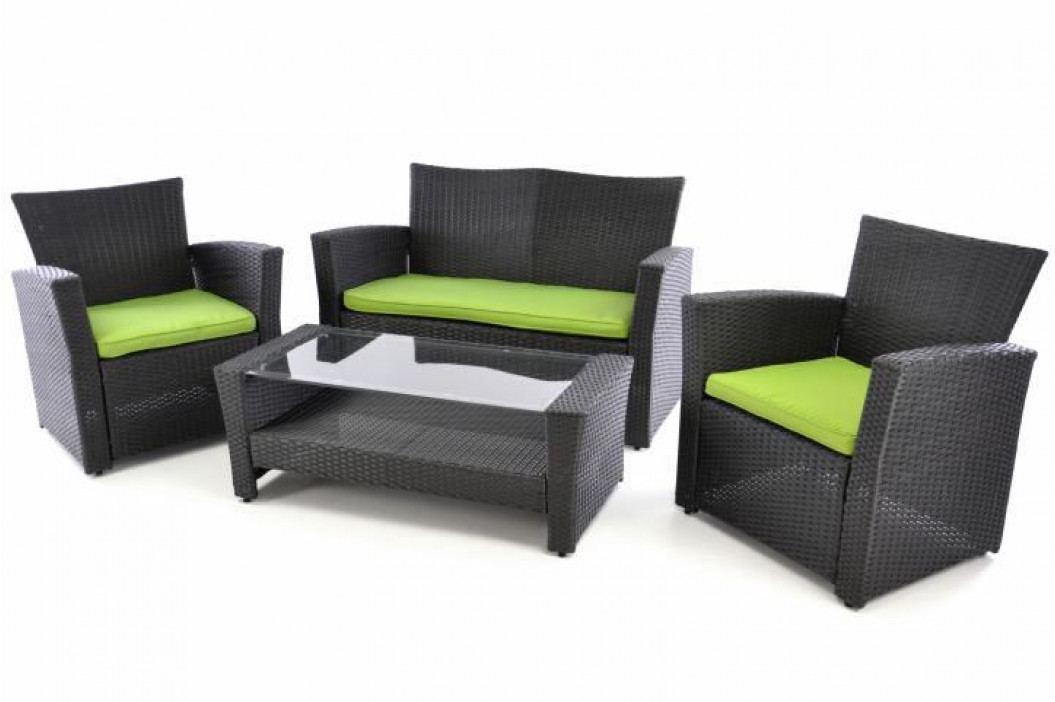 Garthen 38403 Exkluzivní zahradní set z polyratanu - černá/zelená