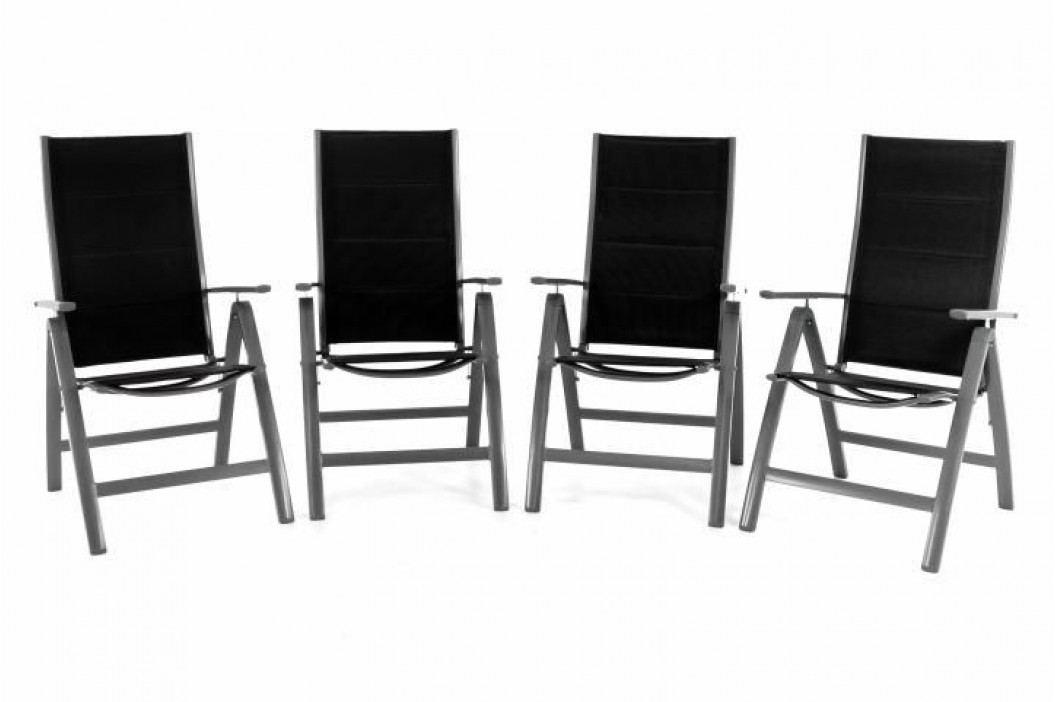 Garthen DELUXE 40773 Sada čtyř zahradních hliníkových židlí - černá
