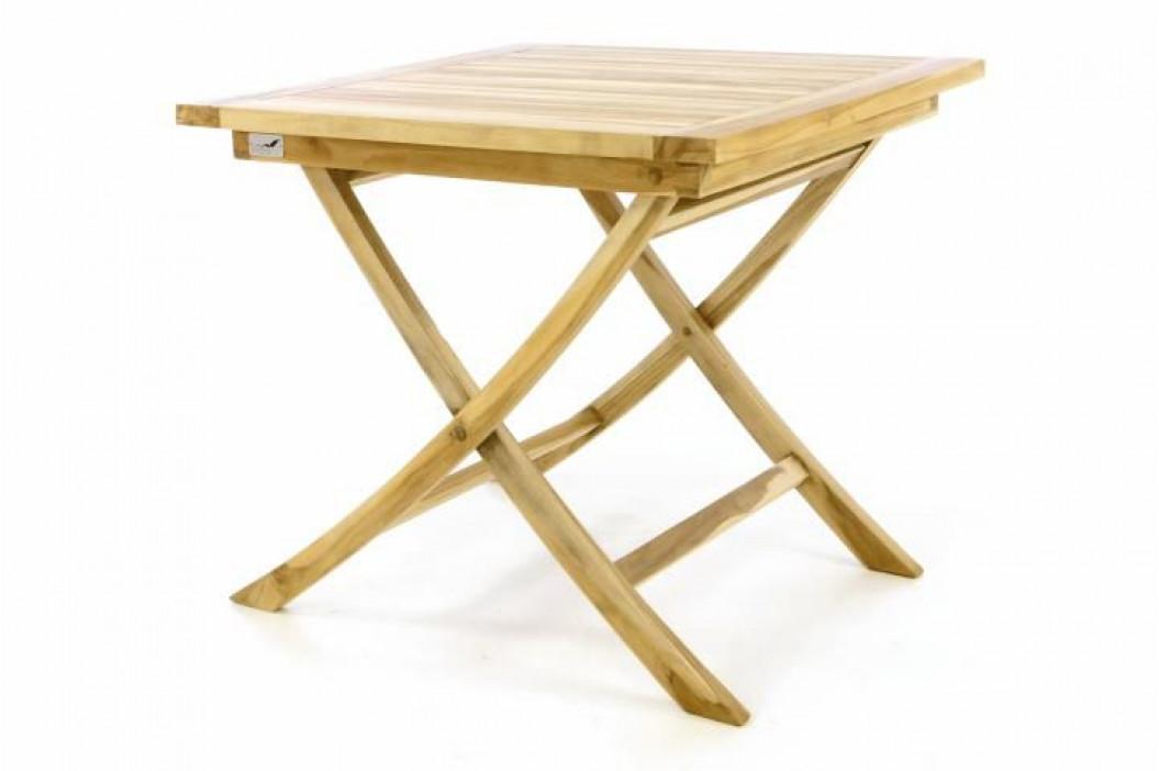 Divero 47274 Skládací zahradní stolek - týkové dřevo neošetřené - 80 cm