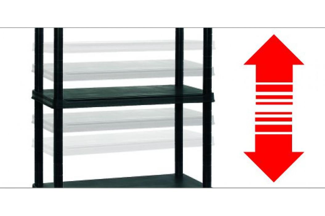 KIS 54619 Plastový otevřený regál PLUS 80/5 - 187 x 80 x 40 cm