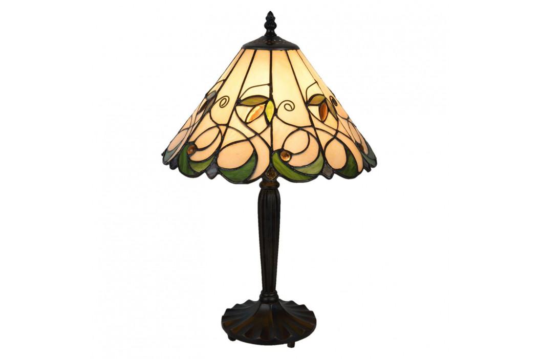 Stolní lampa 5207 v Tiffany stylu, krémově zelená