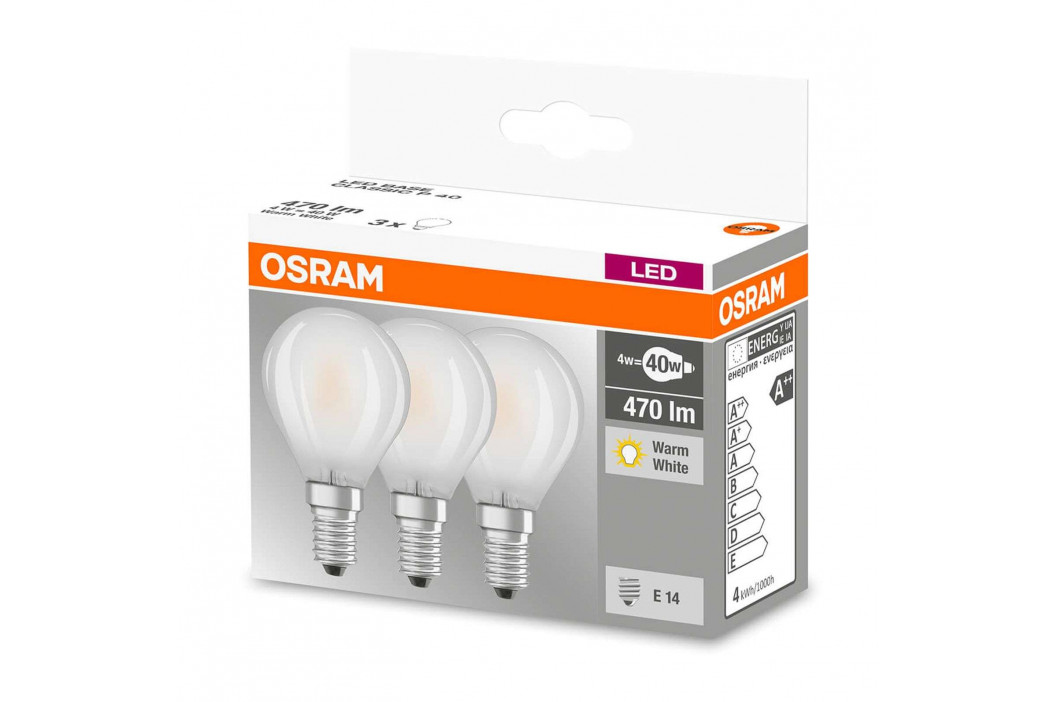 Žárovka LED E14 4W, bílá, 470 lumenů, sada 3ks