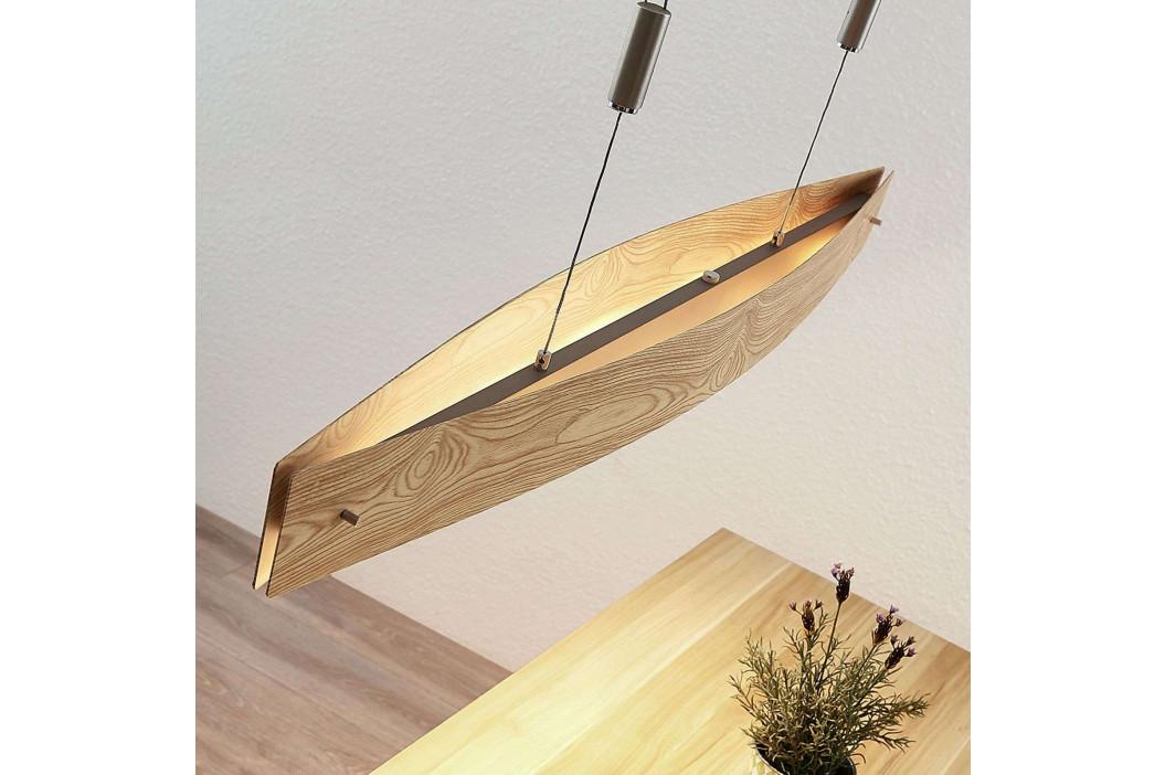 LED závěsné světlo Petyr s dřevěným vzhledem