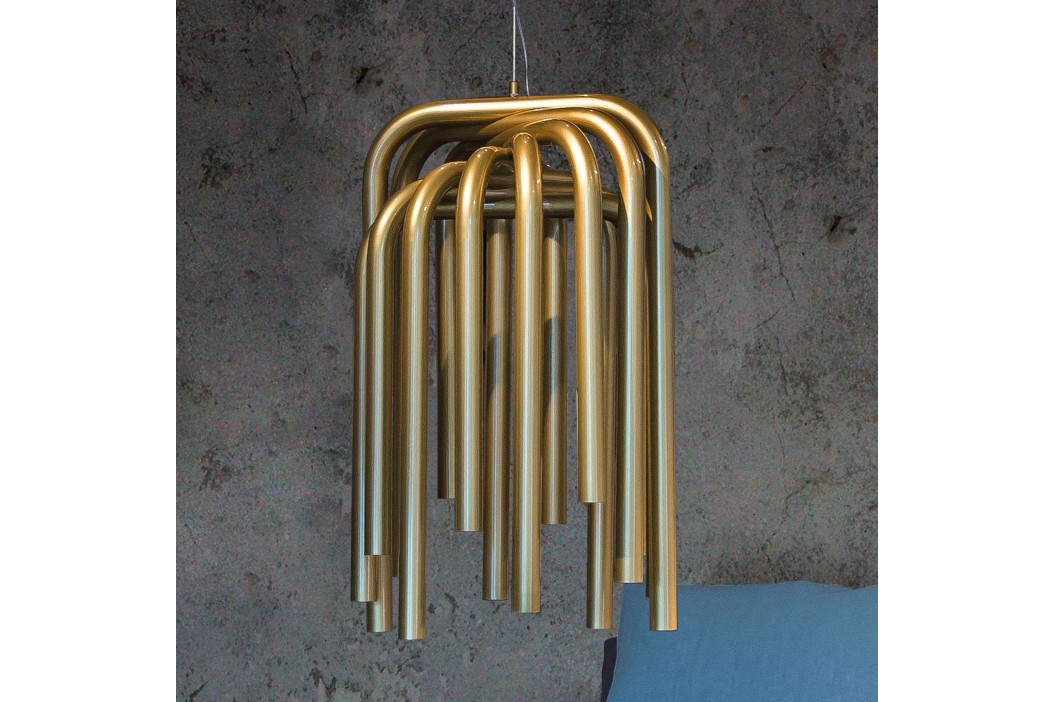 Závěsné světlo LED Pipes ve zlaté