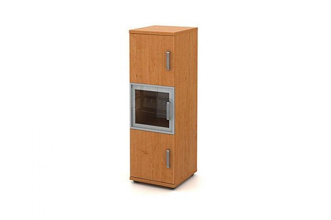Skříň střední úzká 2-dveřová + 1 alurám a sklo