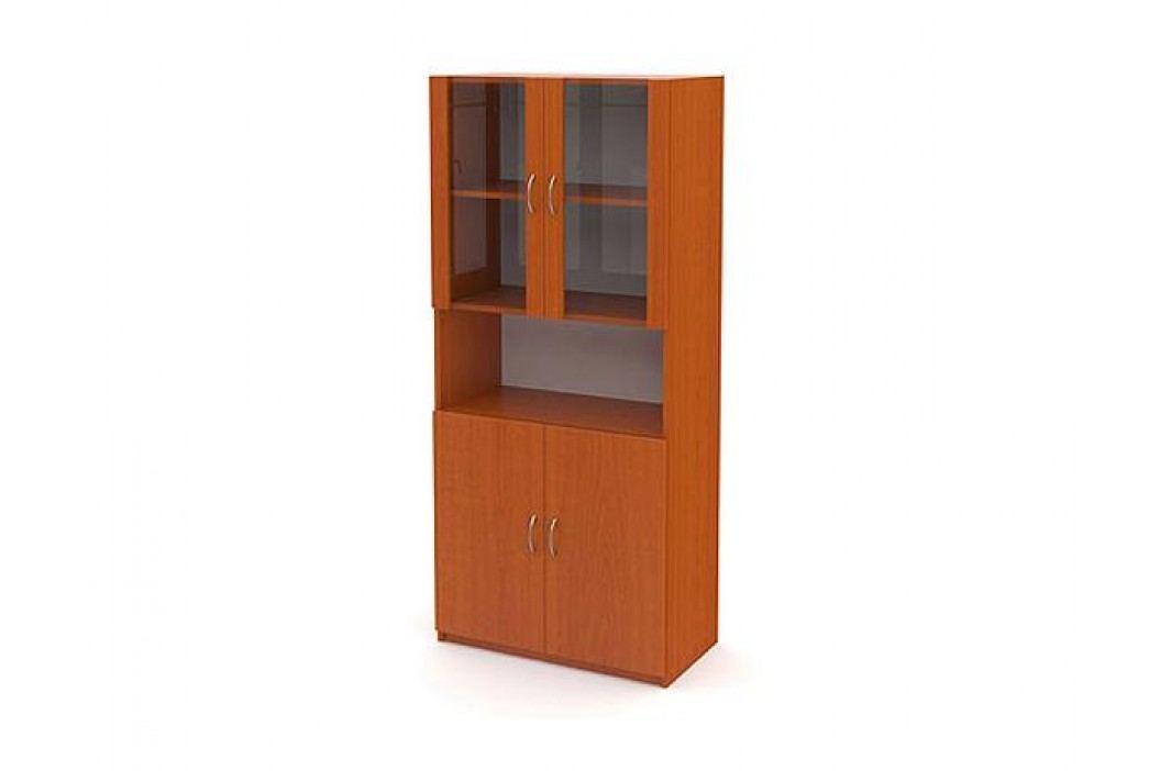 Vysoká prosklená skříň, 4 dveře