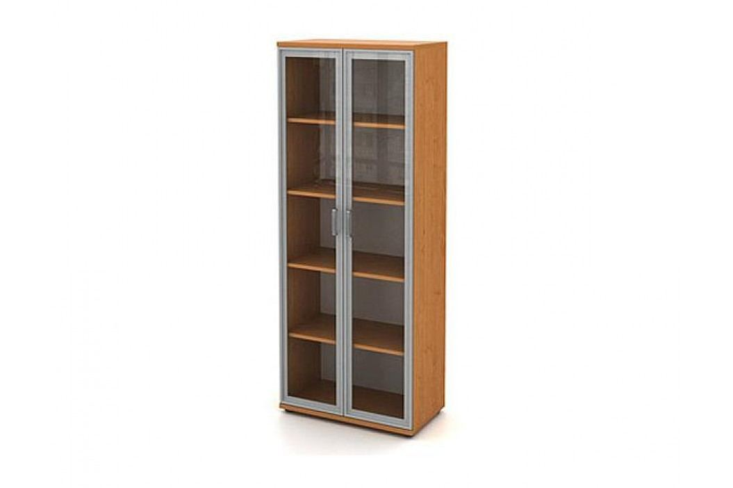Skříň vysoká 2-dveřová s alurámem a sklem