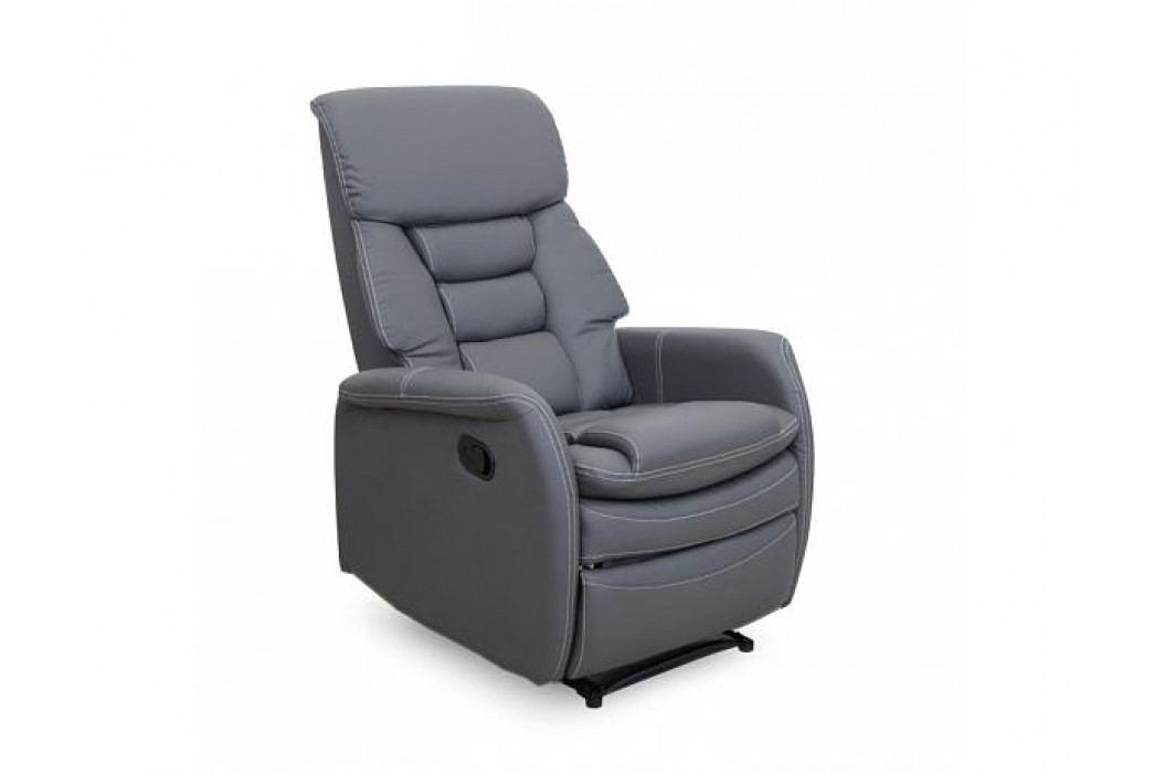 Relaxační křeslo Komfy, textilní kůže, šedá
