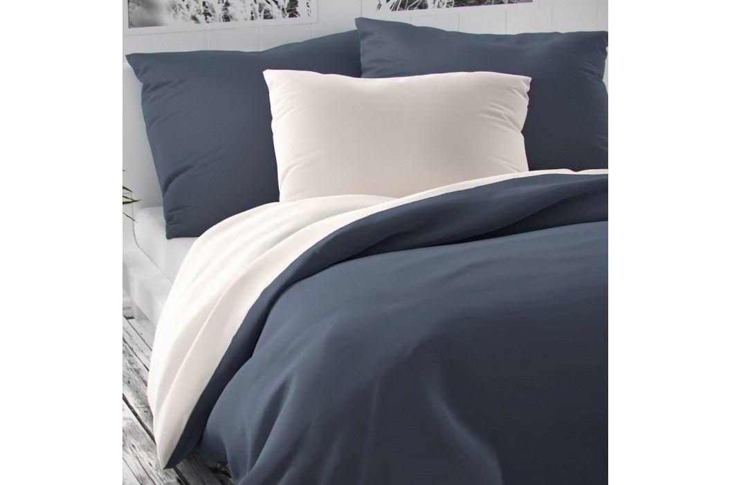 Saténové povlečení Luxury Collection bílá/tmavě šedá, 140 x 220 cm, 70 x 90 cm