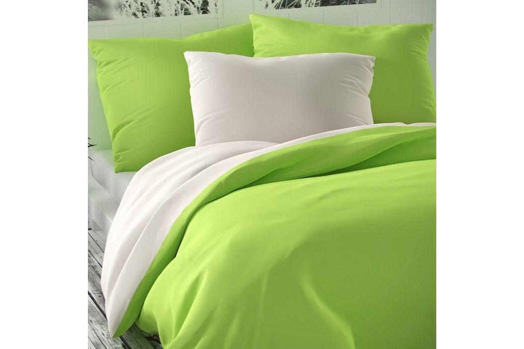 Saténové povlečení Luxury Collection bílá/světle zelená, 220 x 200 cm, 2 ks 70 x 90 cm