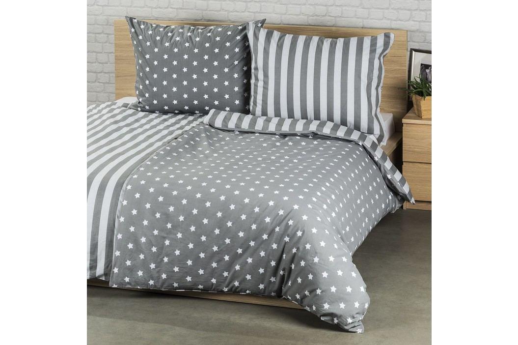 Bavlněné povlečení Stars šedá, 220 x 200 cm, 2 ks 70 x 90 cm