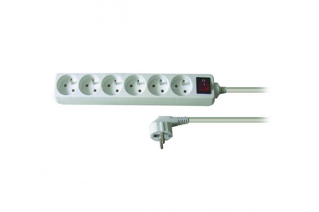 Solight Prodlužovací kabel 6 zásuvek bílá, 3 m