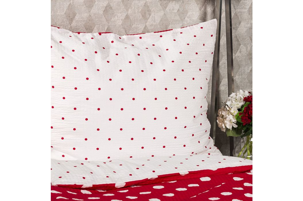 4Home Krepové povlečení Červený puntík, 220 x 200 cm, 2 ks 70 x 90 cm