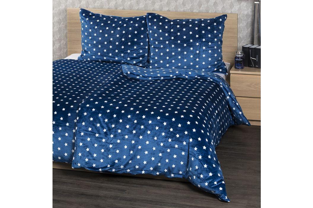 4Home povlečení mikroflanel Stars modrá, 160 x 200 cm, 2x 70 x 80 cm, 160 x 200 cm, 2 ks 70 x 80 cm
