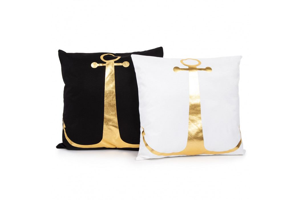 JAHU Polštářek Gold De Lux Kotva bílá, 43 x 43 cm