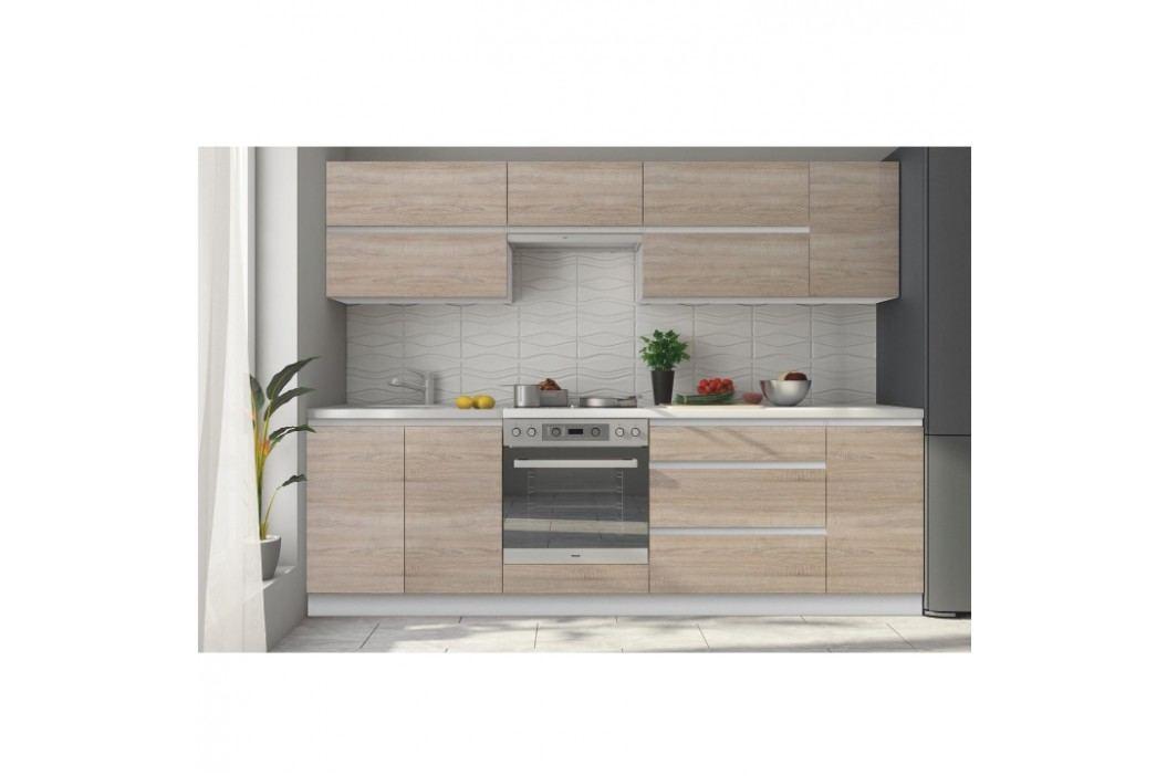 Kuchyně - Line 260 cm bílá + dub sonoma