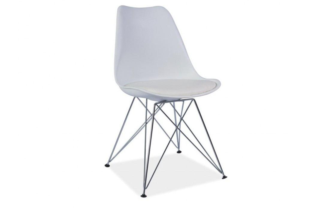 Jídelní židle - Metal (ekokůže bíla)