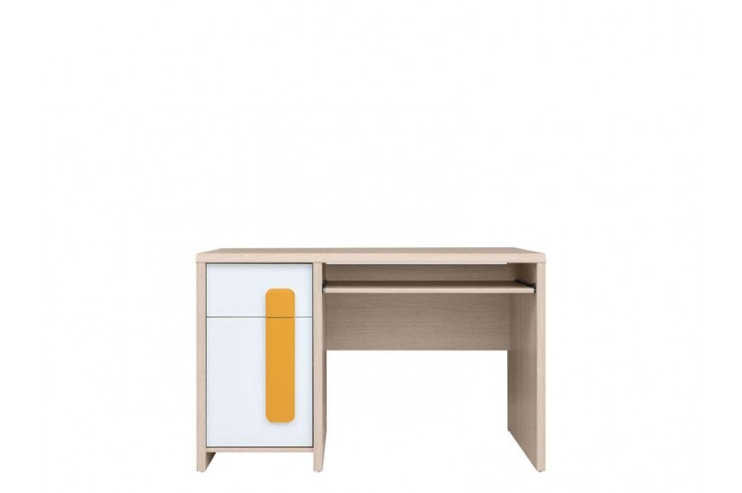 PC stolek - BRW - Colorado - BIU/120 (dub světlý belluno + bílá + pomerančová)