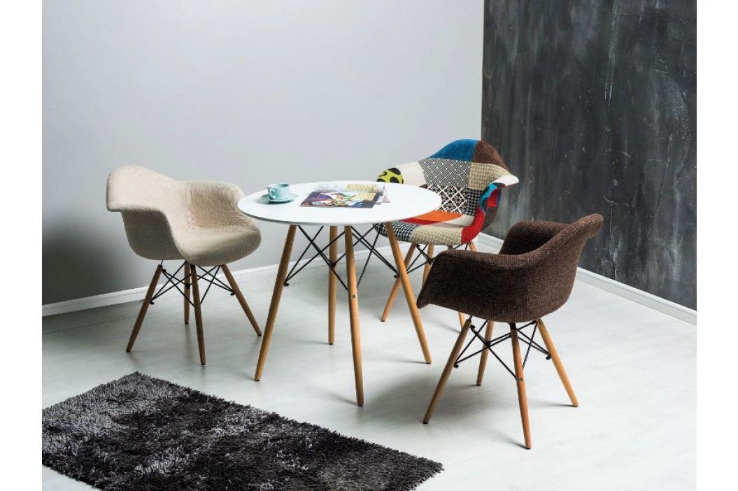 Jídelní stůl - Signal - Soho 80x80 (bílá + buk) (pro 4 osoby)