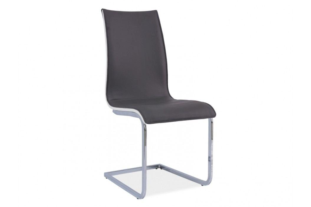 Jídelní židle - Signal - H-133 (ekokůže šedá + bílá)