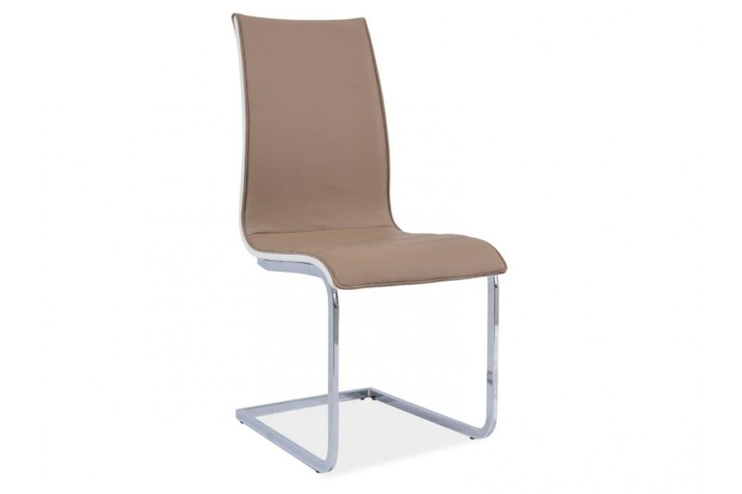 Jídelní židle - Signal - H-133 (ekokůže tmavě béžová + bílá)