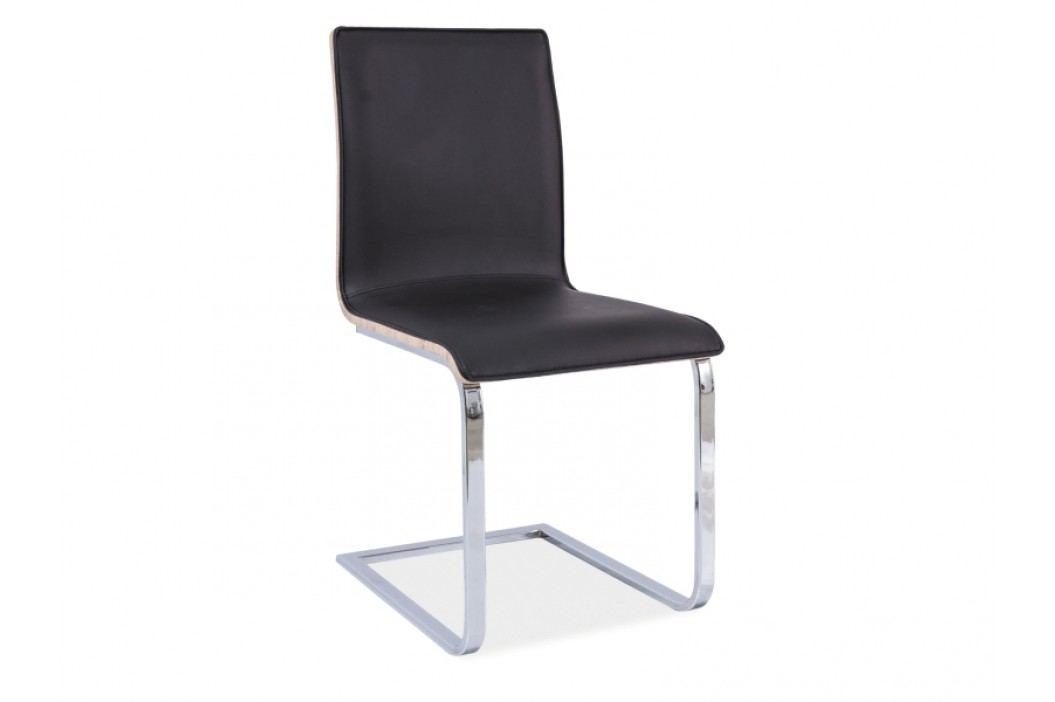 Jídelní židle - Signal - H-690 (ekokůže černá + dub sonoma)