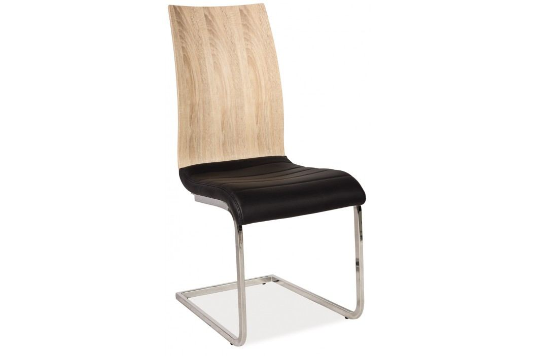 Jídelní židle - Signal - H-791 (ekokůže černá + lesk vysoký biely)