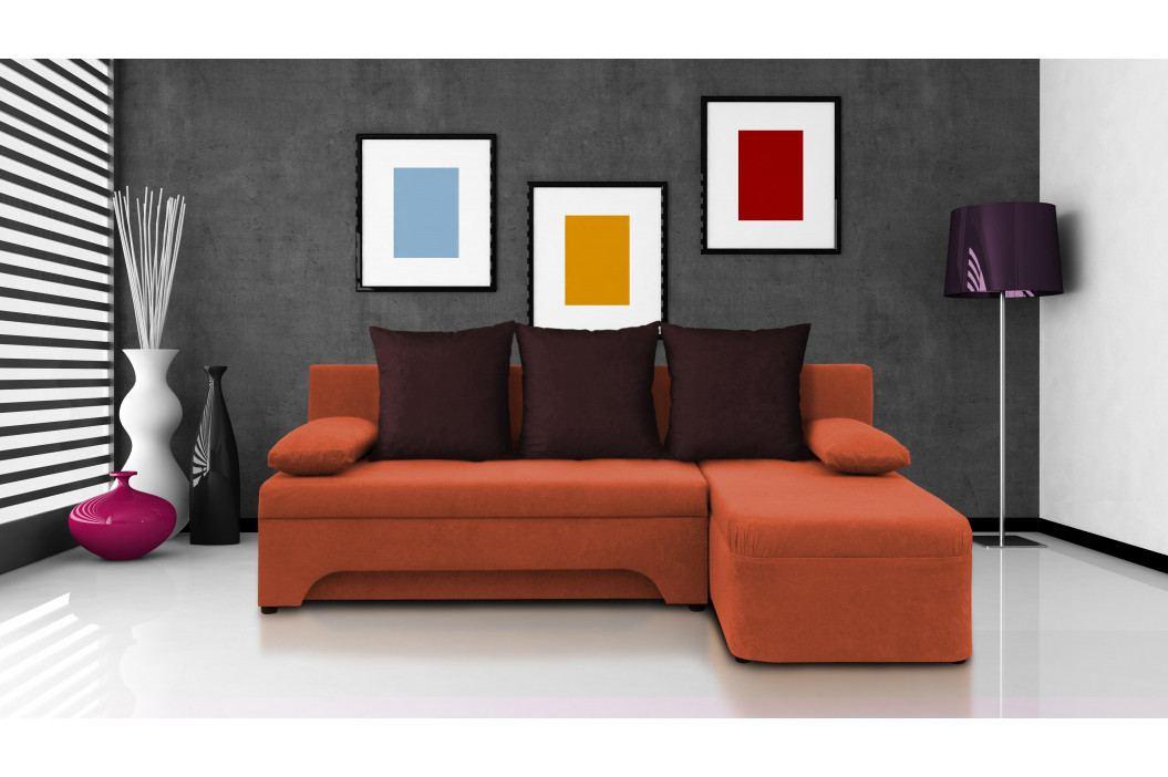 Rohová sedačka Saline oranžová + tmavohnědé polštáře (2 úložné prostory, bonel)