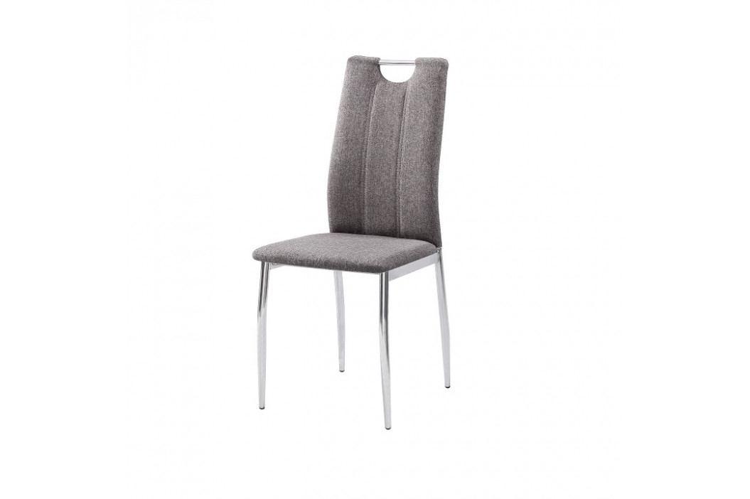 Jídelní židle Oliva new (hnědošedá + chrom)