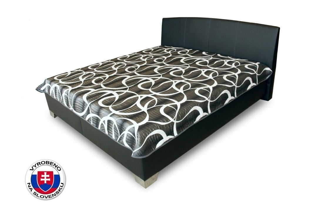 Manželská postel 180 cm - Benab - Tamira (čierna) (s rošty a matracemi Zero a přehozem)