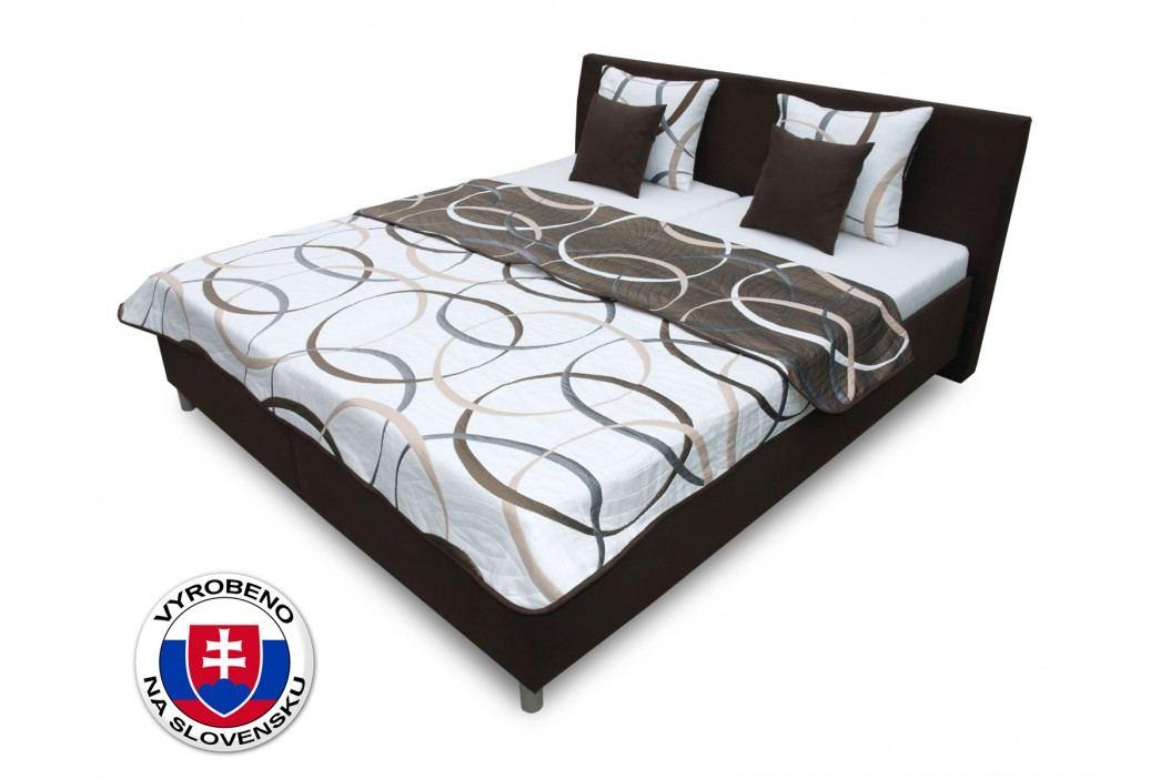 Manželská postel 180 cm - Benab - Montana (s rošty, matracemi Kokos, přehozem a polštářmi)