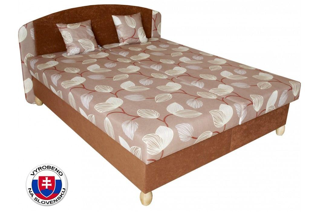 Manželská postel 160 cm - Benab - Paris Melody hnědá/Vento hnědá (s rošty, matracemi a 2 ks polštářů)